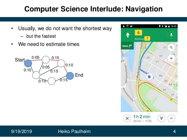 9/19/2019 Heiko Paulheim 4 Computer Science Interlude: Navigation • Usually, we do not want the shortest way – but the fas...