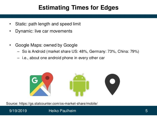 9/19/2019 Heiko Paulheim 5 Estimating Times for Edges • Static: path length and speed limit • Dynamic: live car movements ...