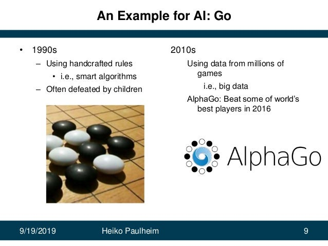 9/19/2019 Heiko Paulheim 9 An Example for AI: Go • 1990s – Using handcrafted rules • i.e., smart algorithms – Often defeat...