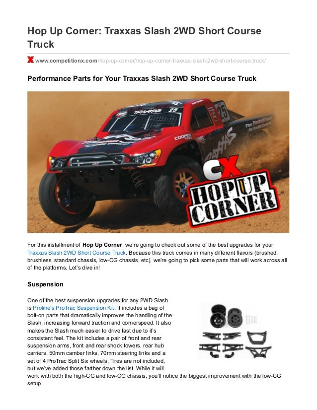 CompetitionX com Hop Up Corner - Traxxas Slash 2WD Short