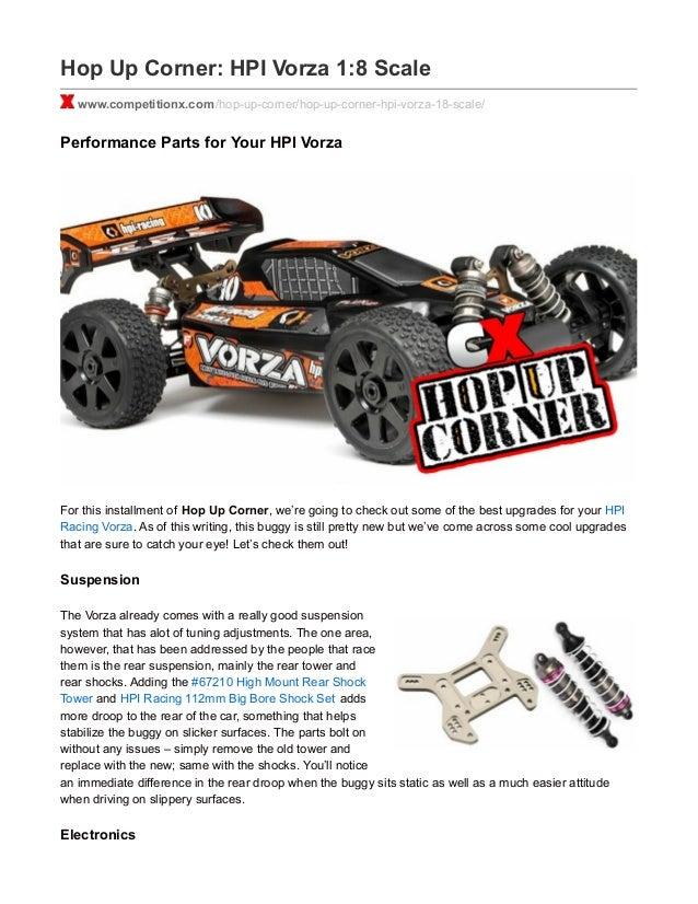 Hop Up Corner: HPI Vorza 1:8 Scale www.competitionx.com/hop-up-corner/hop-up-corner-hpi-vorza-18-scale/ Performance Parts ...
