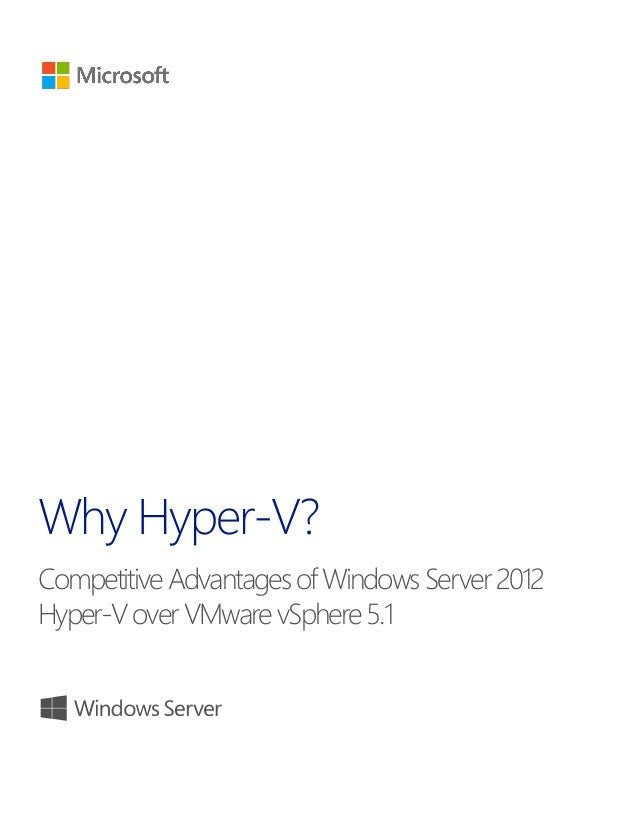 Competitive Advantages of Windows Server 2012 Hyper-V over VMware vSphere 5.1 title of document 1 1 Why Hyper-V? Competiti...