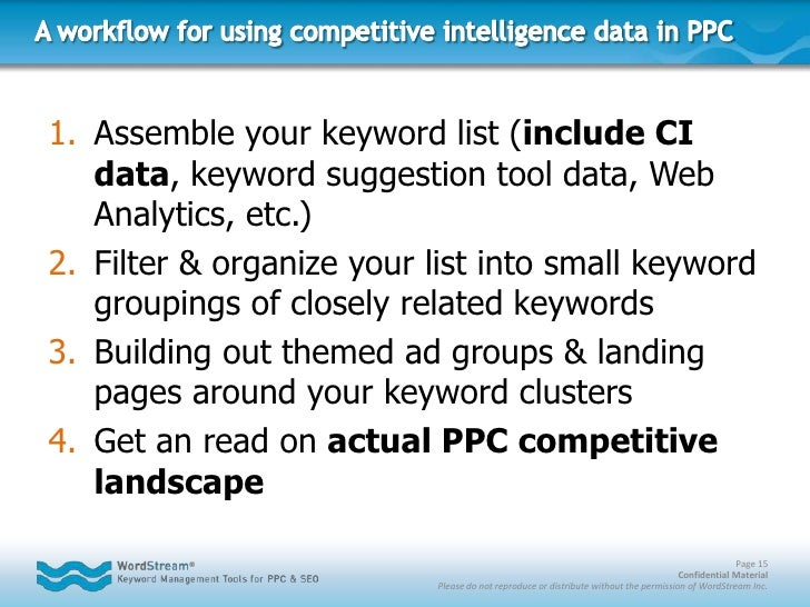 Competitive Intelligence Blunder #4:<br />CI data is an important component of keyword research – should be used in additi...