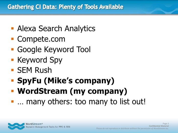 Gathering CI Data: Plenty of Tools Available<br />Alexa Search Analytics<br />Compete.com<br />Google Keyword Tool<br />Ke...