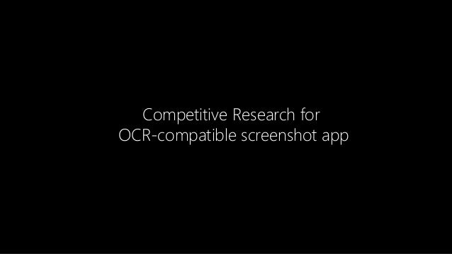 Competitive Research for OCR-compatible screenshot app