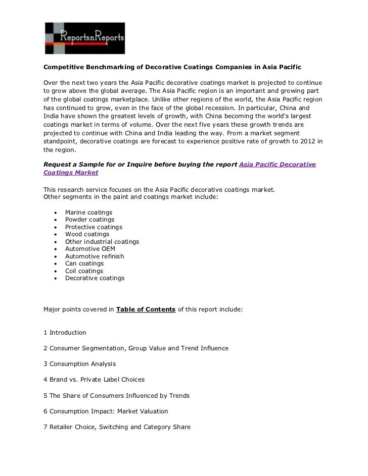 Competitive Benchmarking of Decorative Coatings Companies in Asia PacificOver the next two years the Asia Pacific decorati...