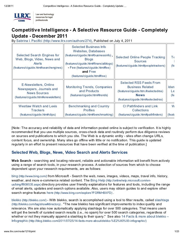12/28/11                         Competitive Intelligence - A Selective Resource Guide - Completely Update      Competitiv...