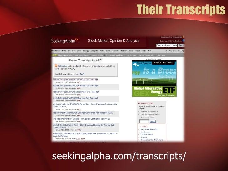 Their Transcripts seekingalpha.com/transcripts/