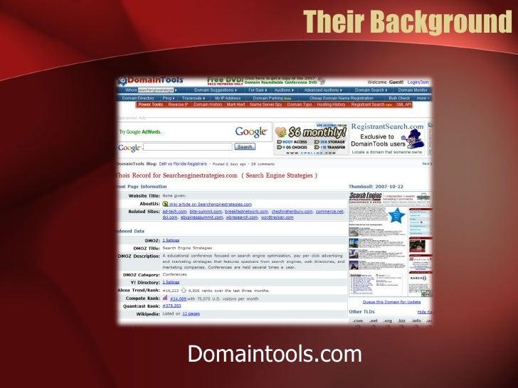 Their Background Domaintools.com