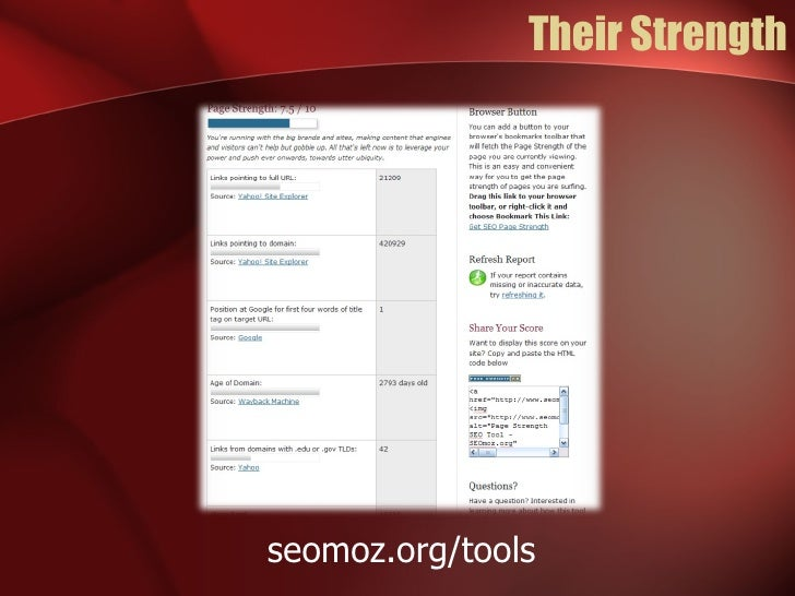 Their Strength seomoz.org/tools