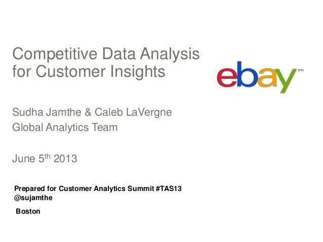 Competitive Data Analysisfor Customer InsightsSudha Jamthe & Caleb LaVergneGlobal Analytics TeamJune 5th 2013Prepared for ...
