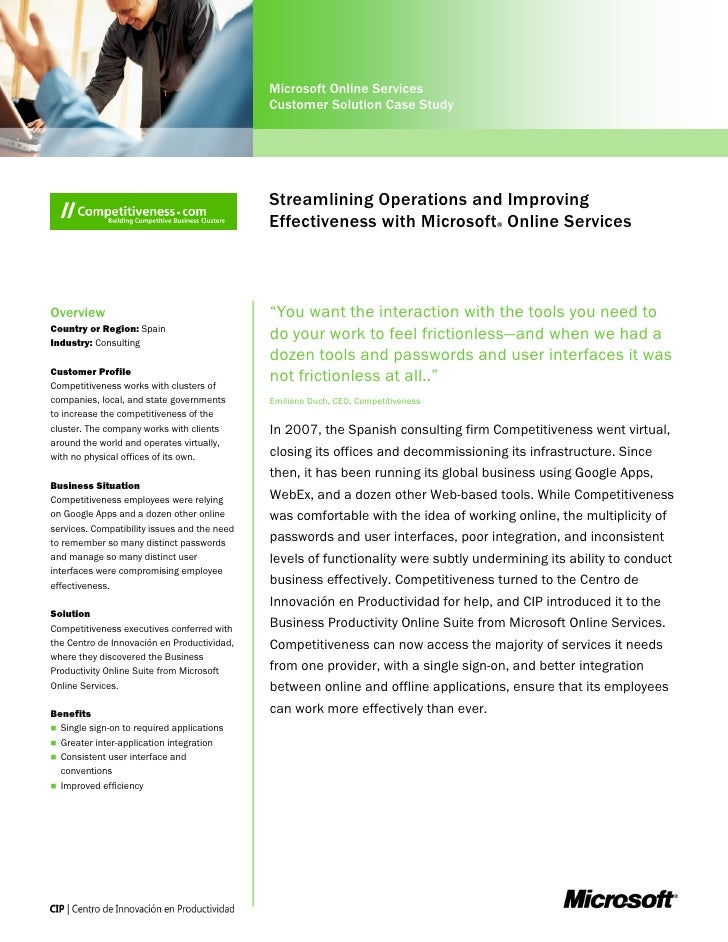 Microsoft Online Services                                              Customer Solution Case Study                       ...
