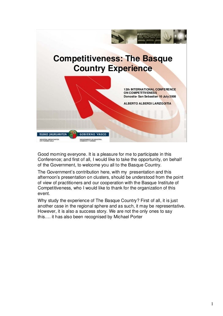 Competitiveness: The Basque           Country Experience                                              12th INTERNATIONAL C...