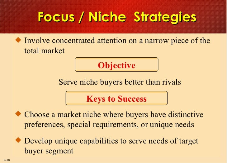 focused or niche strategy Niche marketing: 60 success stories ©apo 2007, isbn: strategy 1 total system of niche marketing strategies presented in this book contribute to.