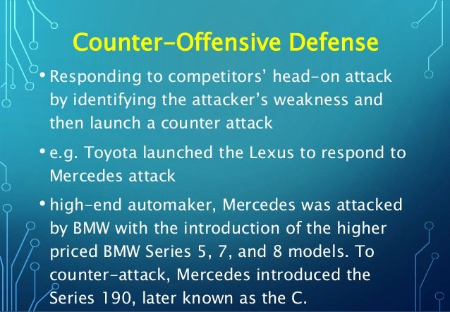Counter-Offensive Defense • Responding to competitors' head-on attack by identifying the attacker's weakness and then laun...