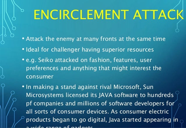 ENCIRCLEMENT ATTACK • Attack the enemy at many fronts at the same time • Ideal for challenger having superior resources • ...