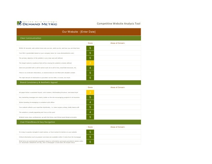 Competitive Website Analysis Tool                                                                    Our Website - [Enter ...