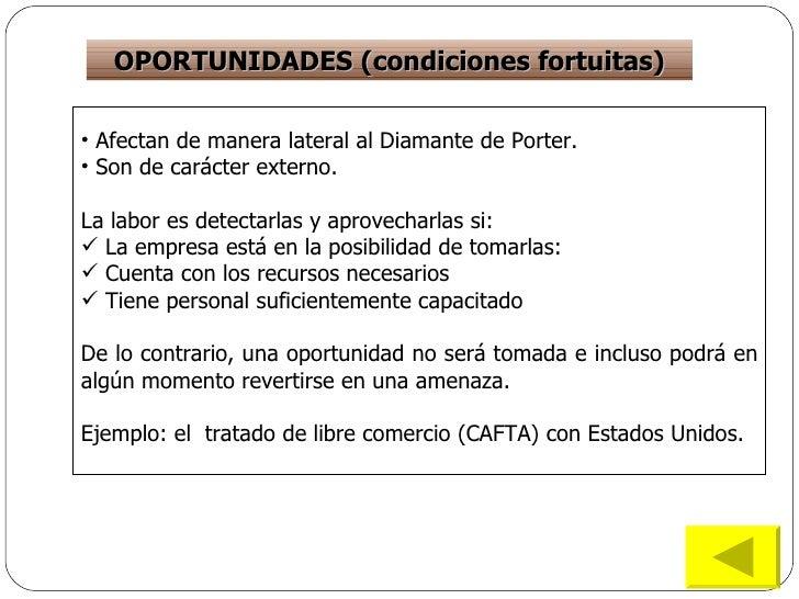 OPORTUNIDADES (condiciones fortuitas) <ul><li>Afectan de manera lateral al Diamante de Porter. </li></ul><ul><li>Son de ca...