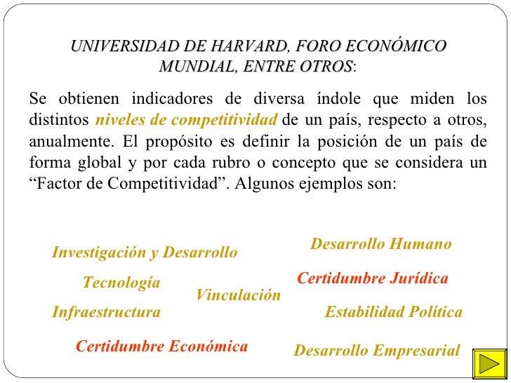UNIVERSIDAD DE HARVARD, FORO ECONÓMICO MUNDIAL, ENTRE OTROS : Se obtienen indicadores de diversa índole que miden los dist...