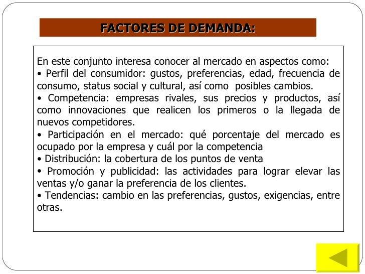 FACTORES  DE DEMANDA: <ul><li>En este conjunto interesa conocer al mercado en aspectos como: </li></ul><ul><li>Perfil del ...