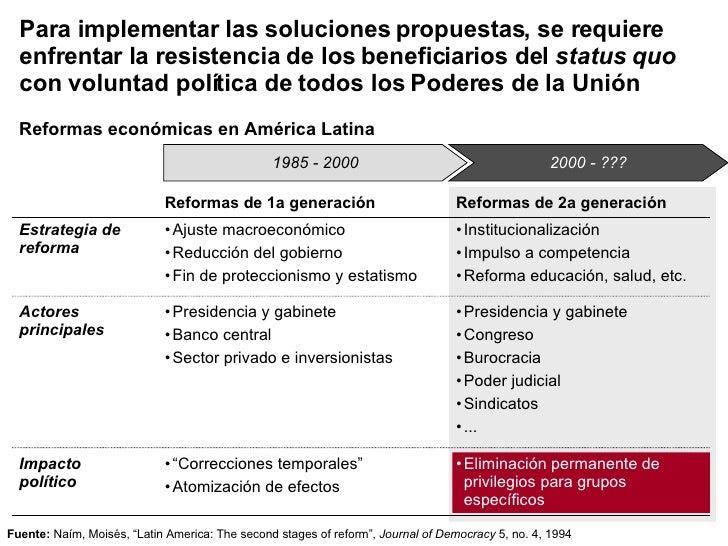 Para implementar las soluciones propuestas, se requiere enfrentar la resistencia de los beneficiarios del  status quo  con...