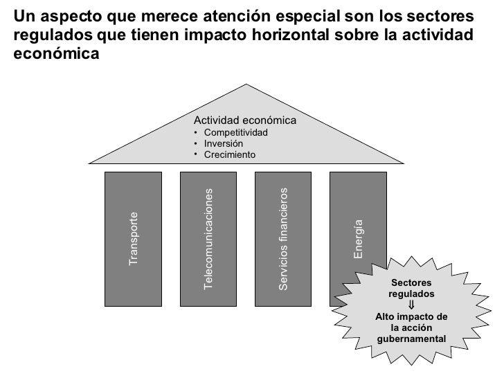 Un aspecto que merece atención especial son los sectores regulados que tienen impacto horizontal sobre la actividad económ...