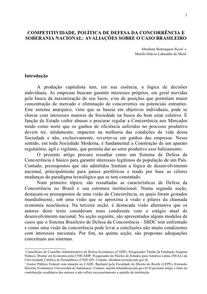 1         COMPETITIVIDADE, POLÍTICA DE DEFESA DA CONCORRÊNCIA E     SOBERANIA NACIONAL: AVALIAÇÕES SOBRE O CASO BRASILEIRO...