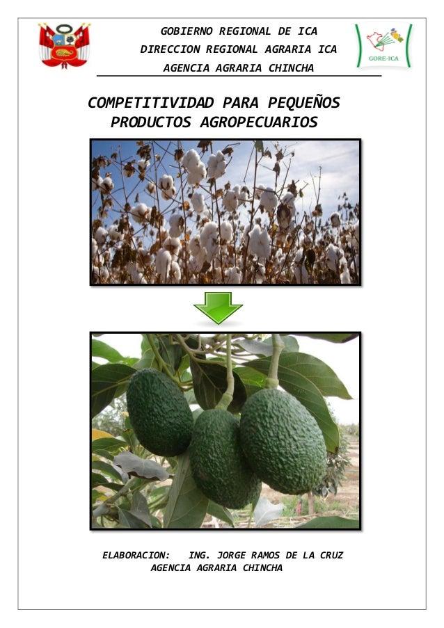 GOBIERNO REGIONAL DE ICA  DIRECCION REGIONAL AGRARIA ICA  AGENCIA AGRARIA CHINCHA  COMPETITIVIDAD PARA PEQUEÑOS PRODUCTOS ...
