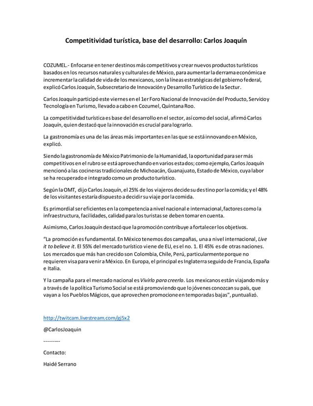 Competitividad turística, base del desarrollo: Carlos Joaquín COZUMEL.- Enfocarse entenerdestinosmáscompetitivosycrearnuev...