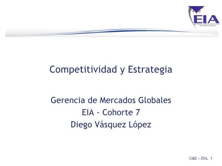 Competitividad y Estrategia Gerencia de Mercados Globales EIA - Cohorte 7 Diego Vásquez López C&E – DVL