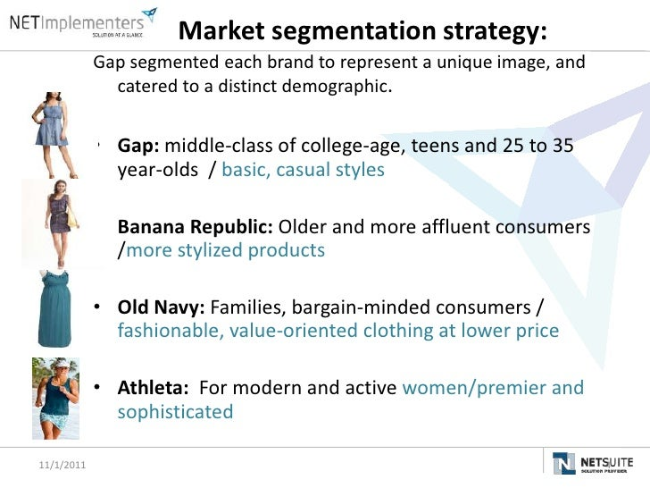 The gap inc marketing strategy and segmentation strategies