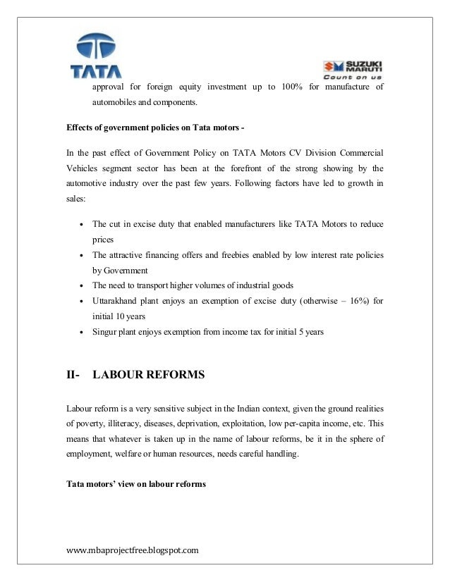 project report on excise duty of tata motors Tata motors feel that duty cut on european cars is a threat for them sanction on trade with iran is a political decision of the us and the eu it is a threat for indian exporters to iran and the oil importers in india.