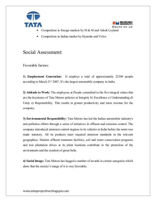 A Project Report On Competitor Analysis OfTataMotors