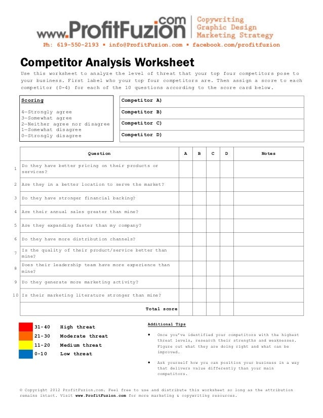 competitor analysis template xls - competitor analysis worksheet