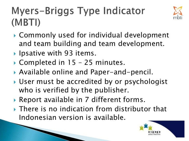 The development forms and applications of the myer briggs type indicator