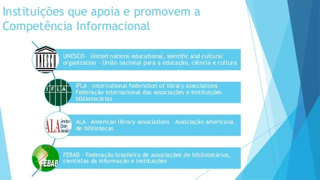 Instituições que apoia e promovem a  Competência Informacional  UNESCO- United nations educational, sientific and cultural...