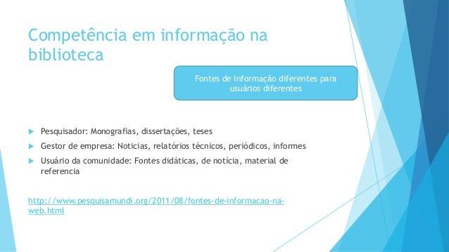 Competência em informação na  biblioteca   Pesquisador: Monografias, dissertações, teses   Gestor de empresa: Noticias, ...
