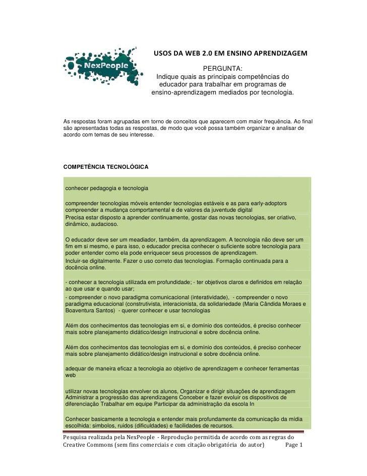 USOS DA WEB 2.0 EM ENSINO APRENDIZAGEM                                                   PERGUNTA:                        ...