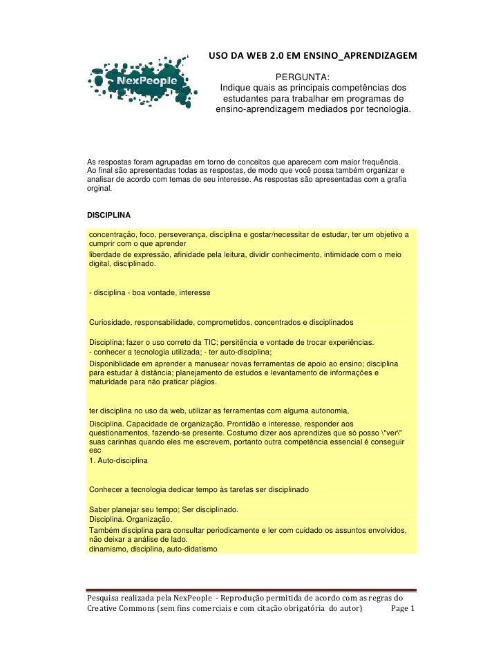 USO DA WEB 2.0 EM ENSINO_APRENDIZAGEM                                                       PERGUNTA:                     ...