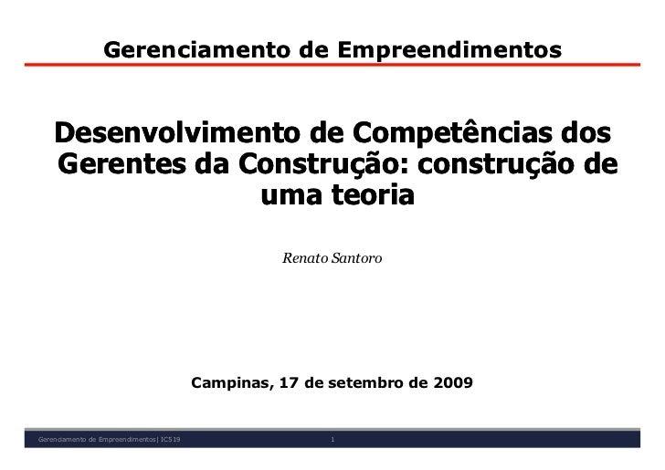 Gerenciamento de Empreendimentos       Desenvolvimento de Competências dos     Gerentes da Construção: construção de      ...