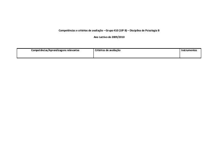 Competências e critérios de avaliação – Grupo 410 (10º B) – Disciplina de Psicologia B                                    ...