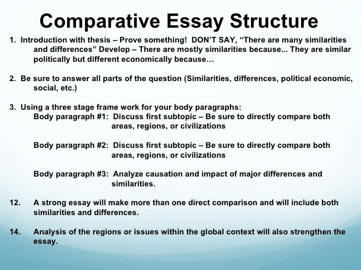 structure of an comparative essay What the topic or argument of the essay is experienced writers have lit- tle difficulty writing thesis structure, thousands of different cars can be built from a thesis sen- tence template, thousands of thesis try them on until some fit 12 the writing template book i comparison/contrast thesis sentences.