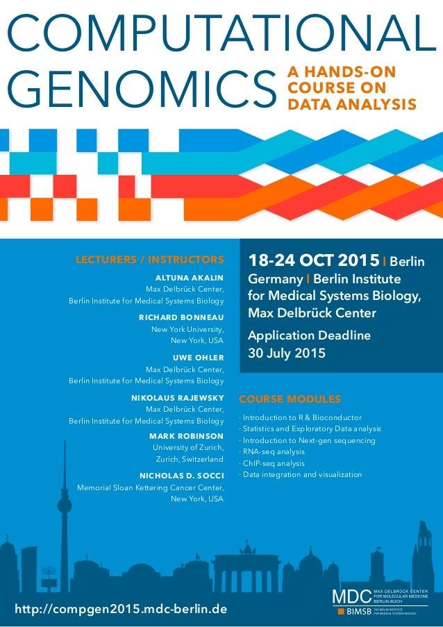 COMPUTATIONAL GENOMICS http://compgen2015.mdc-berlin.de LECTURERS / INSTRUCTORS ALTUNA AKALIN Max Delbrück Center, Berlin ...