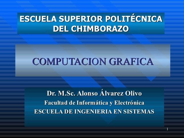 COMPUTACION  GRAFICA Dr.  M.Sc. Alonso Álvarez Olivo Facultad de Informática y Electrónica ESCUELA  DE INGENIERIA EN SISTE...
