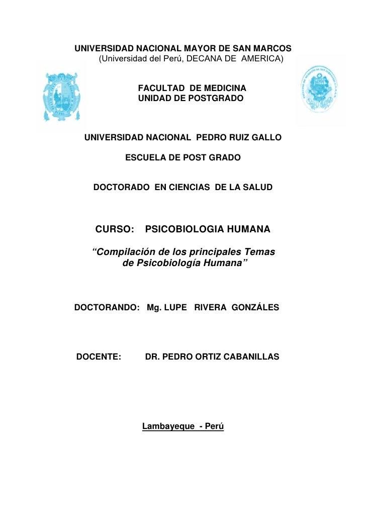 UNIVERSIDAD NACIONAL MAYOR DE SAN MARCOS      (Universidad del Perú, DECANA DE AMERICA)                FACULTAD DE MEDICIN...