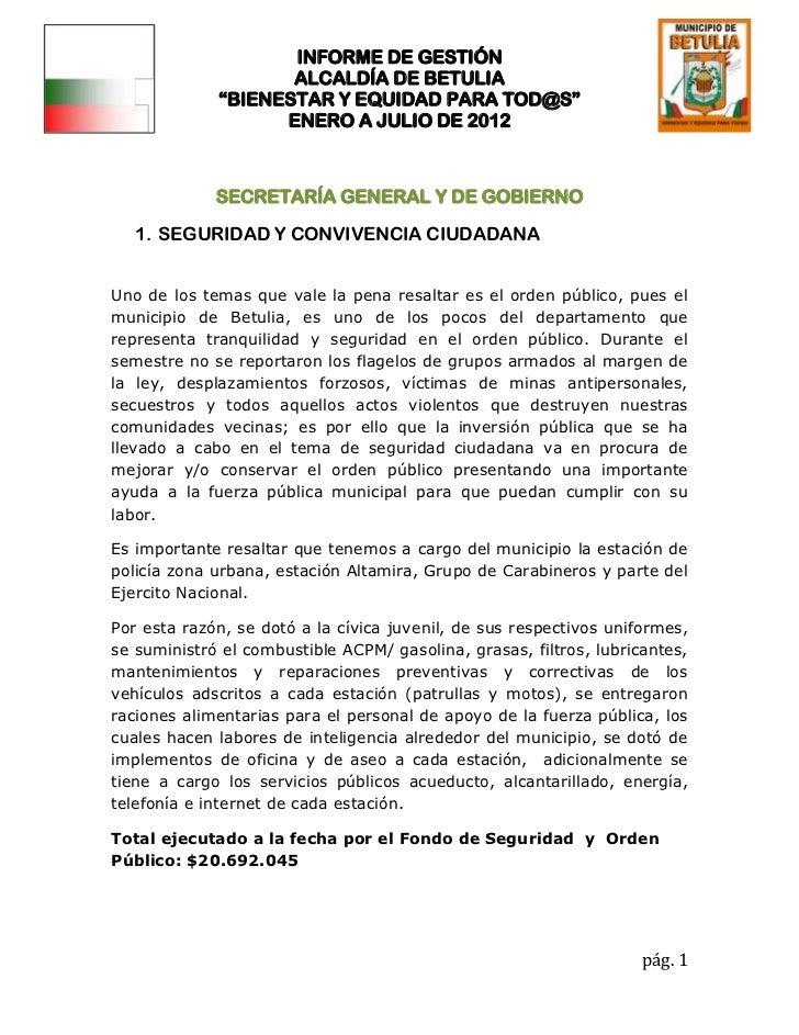"""INFORME DE GESTIÓN                    ALCALDÍA DE BETULIA             """"BIENESTAR Y EQUIDAD PARA TOD@S""""                   E..."""