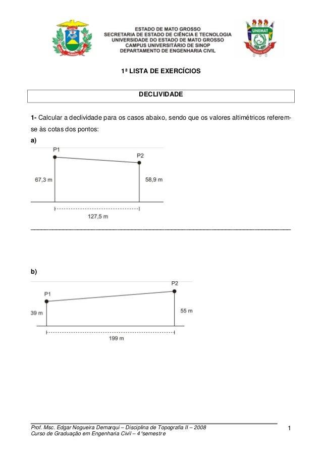 1ª LISTA DE EXERCÍCIOS                                           DECLIVIDADE1- Calcular a declividade para os casos abaixo...