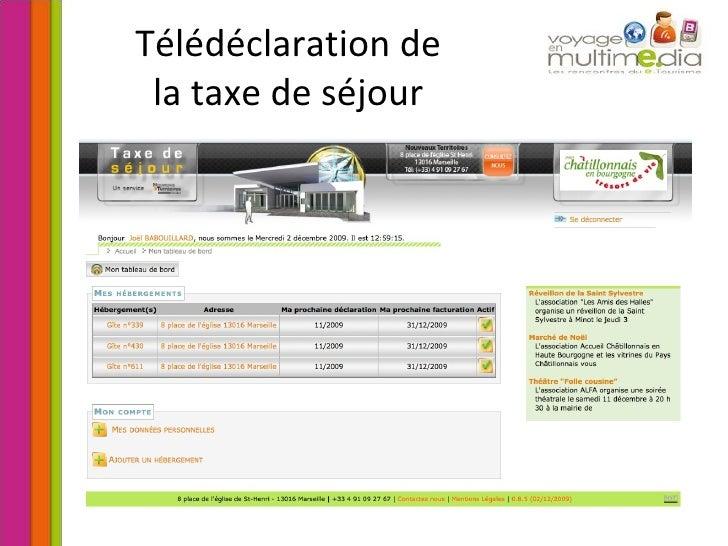 Télédéclaration de la taxe de séjour