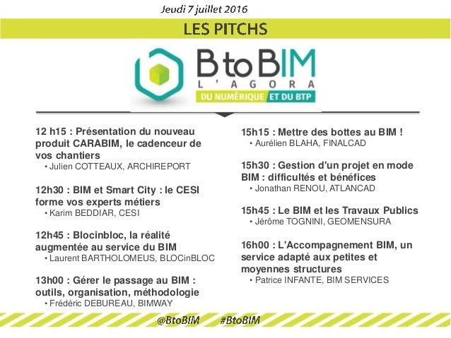 BtoBIM : Les pitchs Slide 2