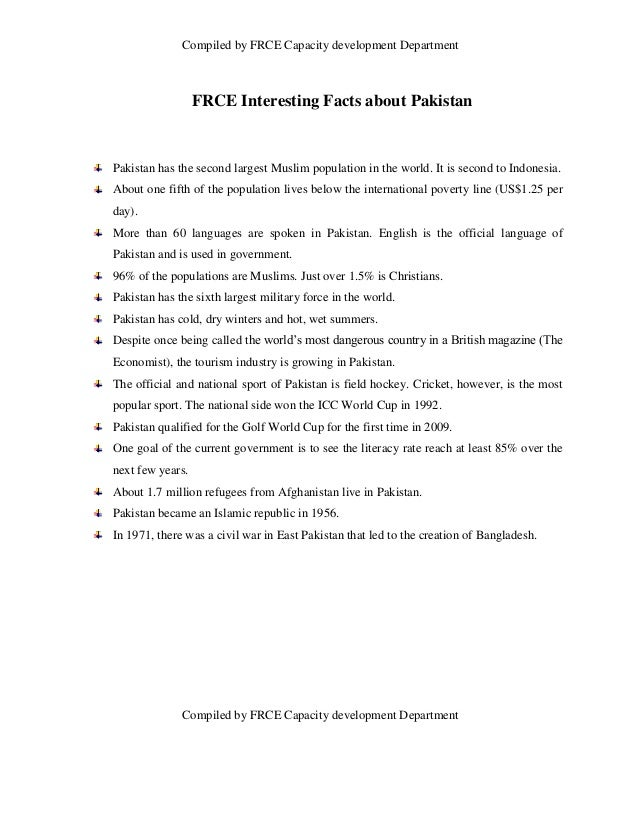 Compiled by FRCE Capacity development Department                  FRCE Interesting Facts about PakistanPakistan has the se...